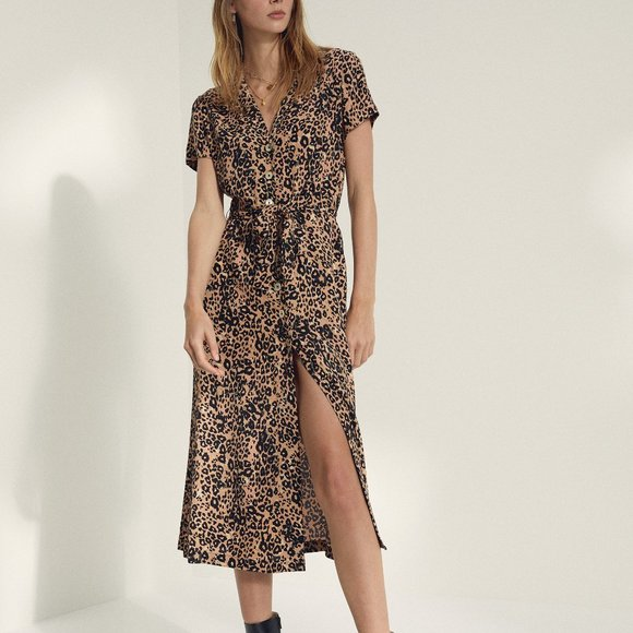 Aritzia/Wilfred Leopard Shirt Dress
